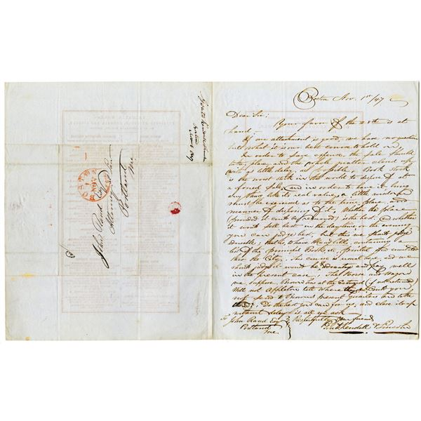 Gould, Kendall & Lincoln Publishers Handwritten Letter, 1847 with Broadside Book List on back
