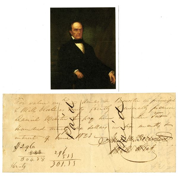 Daniel Webster Signed and Issued 1823 Promissory Note