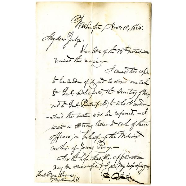 Francis E. Spinner, 1868 Handwritten Letter to a Judge about a Pension Claim for a Widowed Mother of