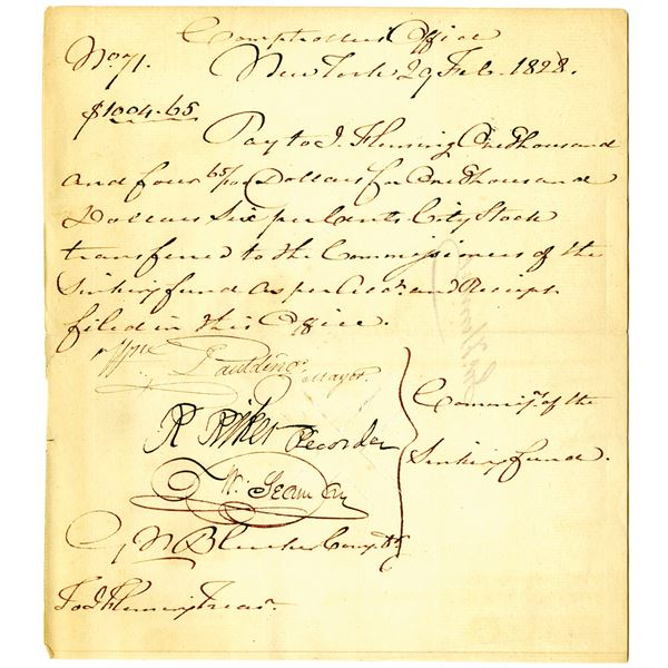 New York, 1828 Comptrollers Office Payment Signed by Mayor William Paulding Jr. and Richard Riker