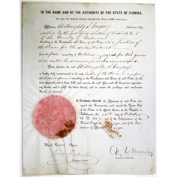 State of Florida, 1847 Justice of the Peace Commission Document Signed by the Governor William Dunn