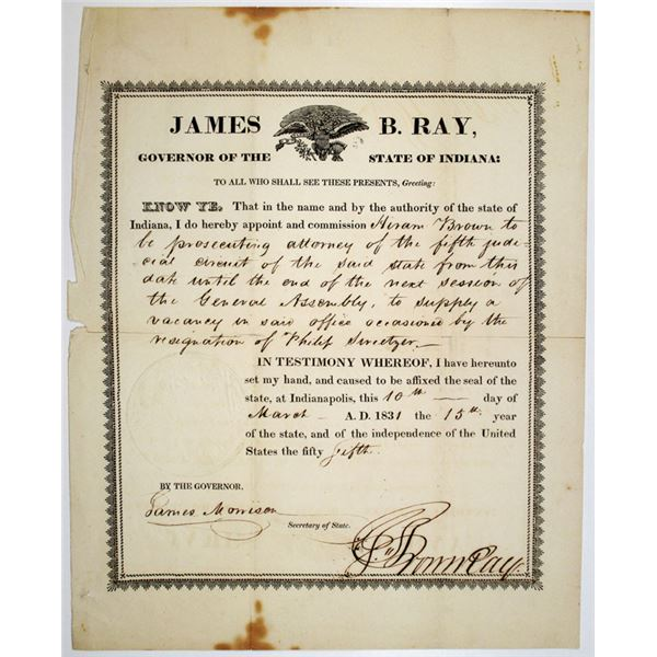 James B. Ray, Governor of Indiana, 1831 Attorney Commission Document with Signature