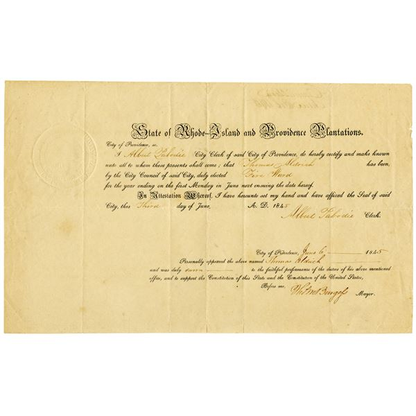 State of Rhode-Island and Providence Plantations 1845 Fire Ward Election Document