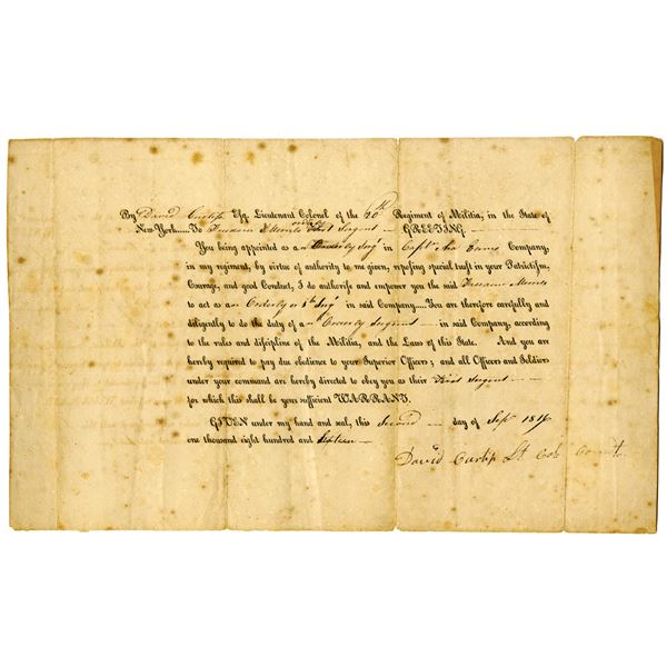 20th Regiment of Militia Appointment Document, New York 1816