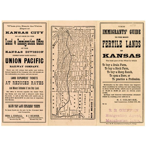 Immigrants' Guide to the Most Fertile Lands of Kansas Pamphlet, ca. 1880s