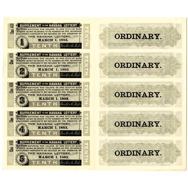 Havana Lottery Ticket Uncut Sheet of 10 Tickets dated 1893.