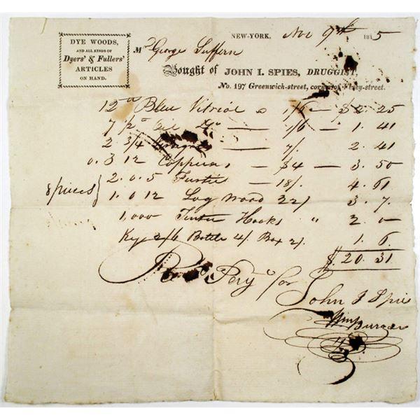 New York City, 1815 Receipt for John I. Spies, Druggist