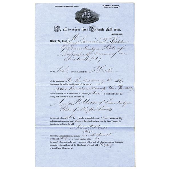 Massachusetts 1855 Partial Share in a Shipping Vessel Bill of Sale