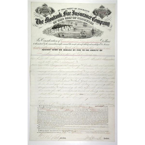 """Montauk Fire Insurance Co. of Brooklyn 1864 Issued Insurance Policy on Steamship """"Metropolis""""."""