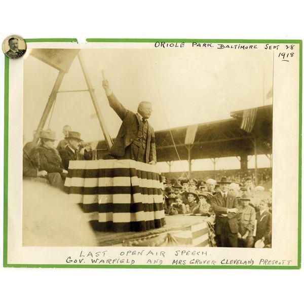 Theodore Roosevelt, Oriole Park Open Air Speech & Pinback Pin Pair