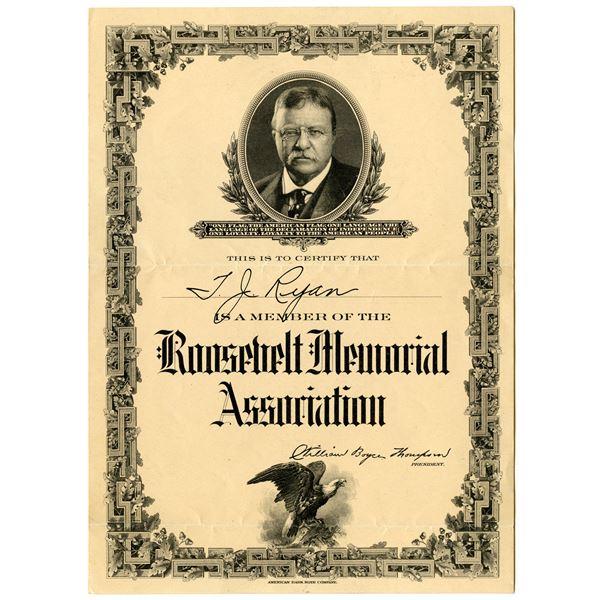 Roosevelt Memorial Association 1919 Issued Membership Certificate