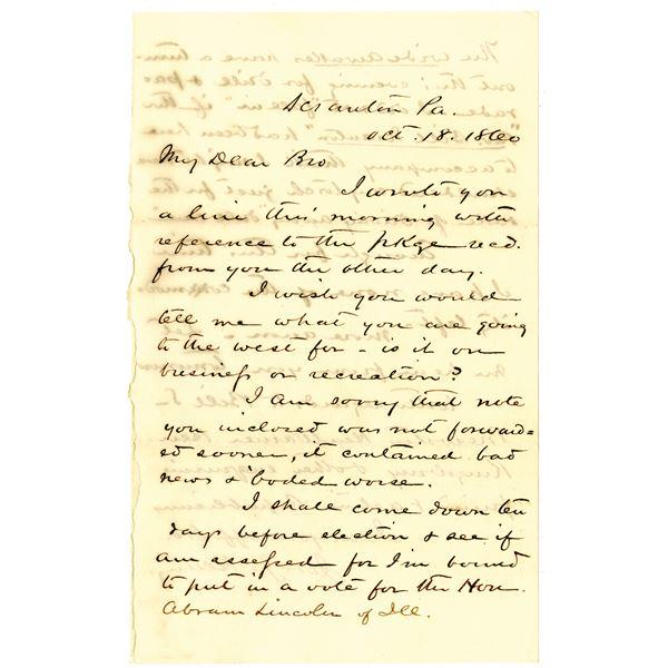 Joseph J. Henry Handwritten Letter Mentioning Voting for Abraham Lincoln, 1860