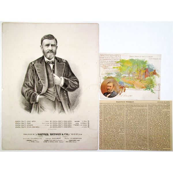 Ulysses S. Grant, 1862 Illustrated Sheet Music, Birth Place Souvenir Card & Newspaper Clipping