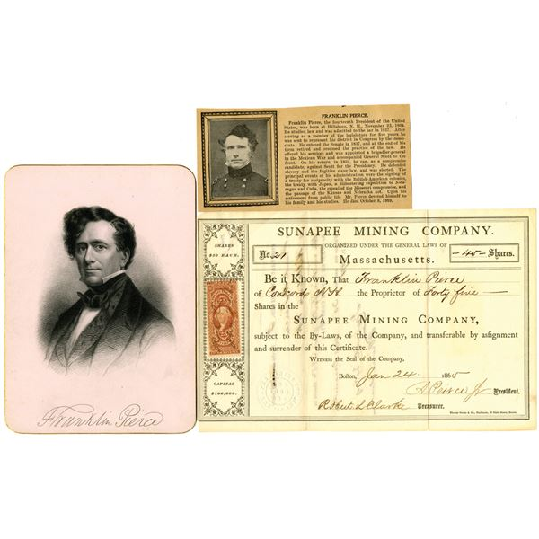 Sunapee Mining Co. 1865 I/U Stock Certificate Issued to and signed by Franklin Pierce