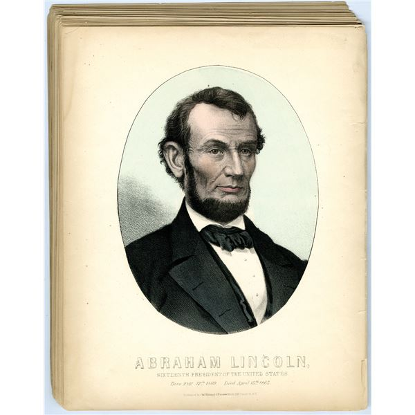 Abraham Lincoln Colorized Print Litho Printed Group Lot of 44 Pieces, ca.1860-70's