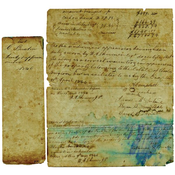 1846 Estate Appraisal Document Listing Slaves and Other Property