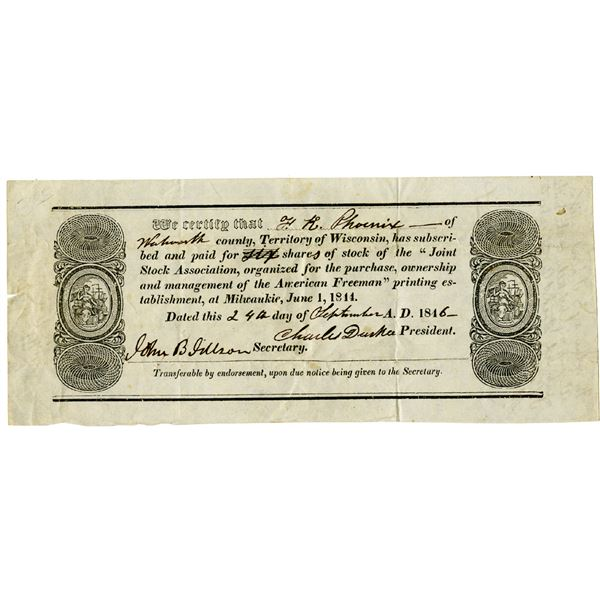 American Freeman, a Prominent Newspaper for the Abolition of Slavery, 1846 I/U Stock Certificate
