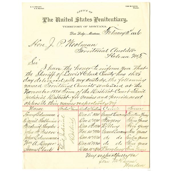 U.S. Penitentiary at Deer Lodge, Montana Territory, 1886 Handwritten Document With List of Convicted