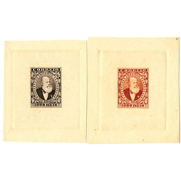 Imperio Do Brazil, ND (ca.1860-80's) Color Trial Small Die Proof Vignette Pair.
