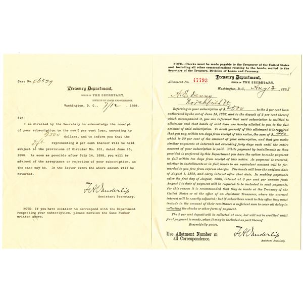 Treasury Department, 1898 Allotment Document for U.S. Spanish American War Bonds