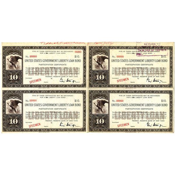 U.S. Government Liberty Loan Bond, 1917 Specimen 3 1/2% Gold bond Uncut Block of 4 Participation Cer