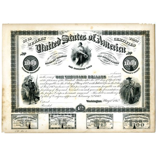 U.S.A. Treasury Department Counterfeit Detector Proof plate of 1862 $1,000 Bond