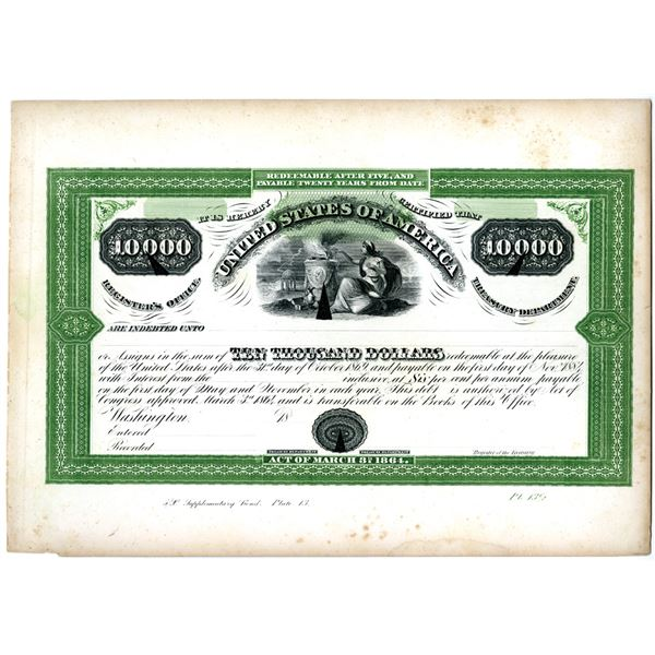 U.S.A. Treasury Department Counterfeit Detector Proof Plate of 1864 $10,000 Bond