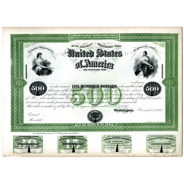 U.S.A. Treasury Department Counterfeit Detector Proof plate of 1865 $500 Bond