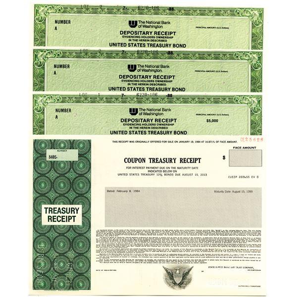 Quartet of United States Treasury Bonds, 1988-90