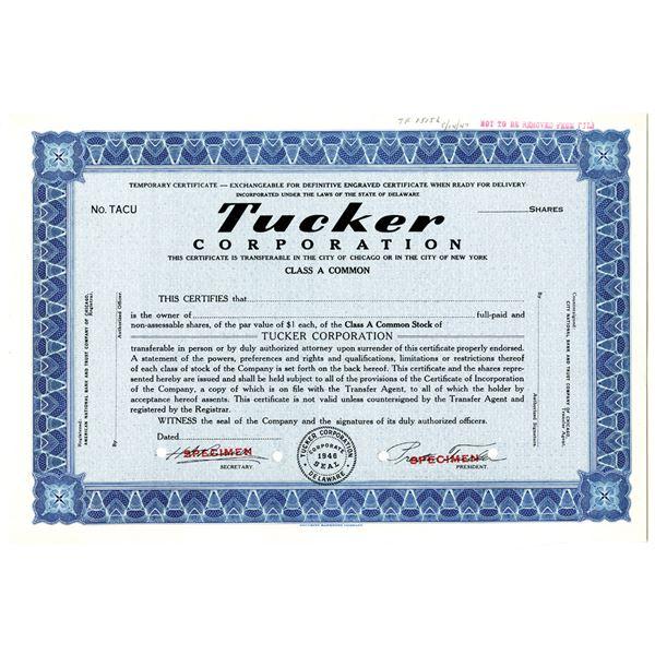 Tucker Corp. 1947 Specimen Stock Certificate