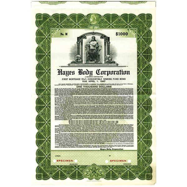 Hayes Body Corp. 1937 Specimen Bond