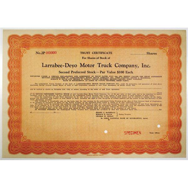 Larrabee-Deyo Motor Truck Co., Inc., 1928 Specimen Trust Certificate