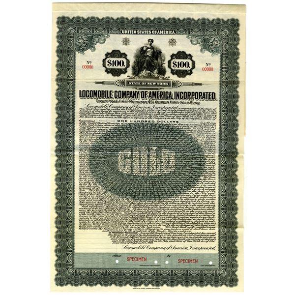 Locomobile Co. of America, Inc. 1922 Specimen Bond