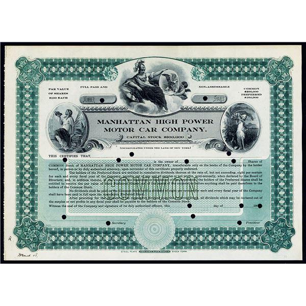 Manhattan High Power Motor Car Co., 1908 Specimen Stock Certificate Rarity