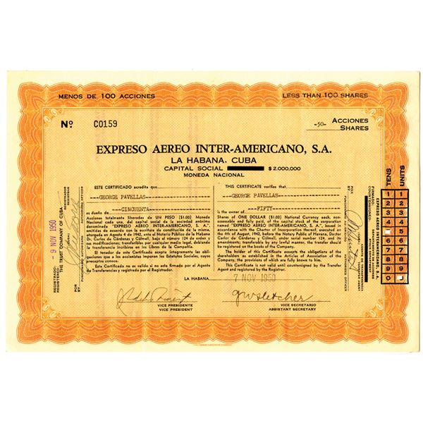 Expreso Aereo Inter-Americano, S.A. 1950 I/U Stock Certificate