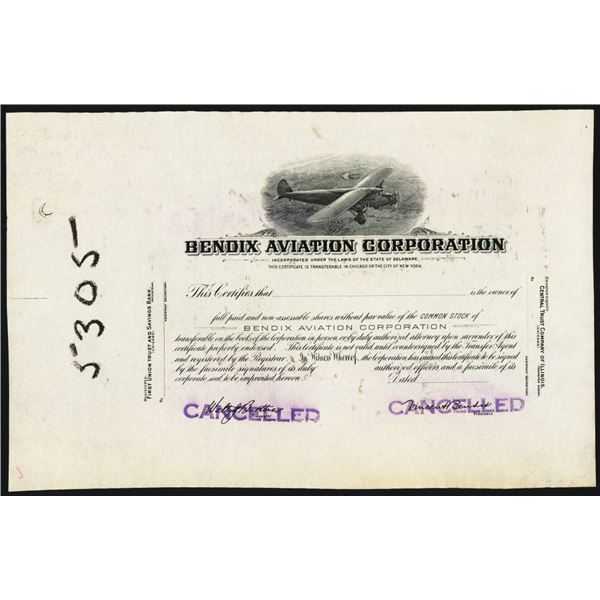 Bendix Aviation Corp. 1929-30's Progress Proof Stock Certificate.