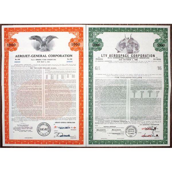 LTV Aerospace and Aerojet-General, 1969 and 1962 Aviation Specimen Bonds
