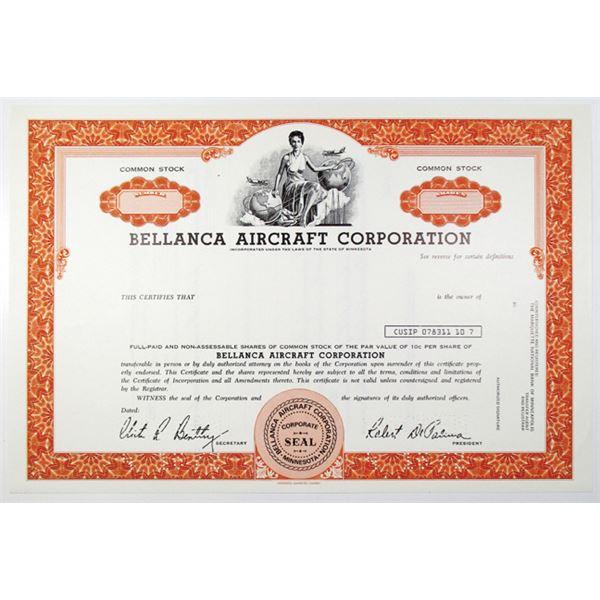 Bellanca Aircraft Corp. 1972 Specimen Stock Certificate