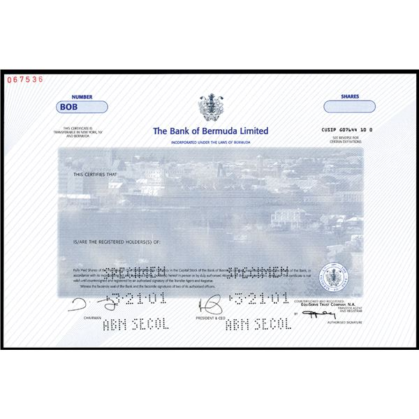 Bank of Bermuda Ltd., 2001 Specimen Stock.