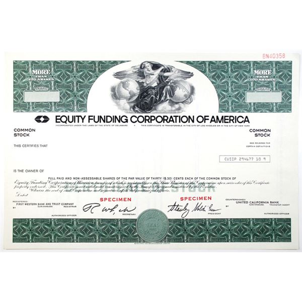 Equity Funding Corp. of America, 1970-80's Specimen Stock Certificate Historic Insurance Scandal and