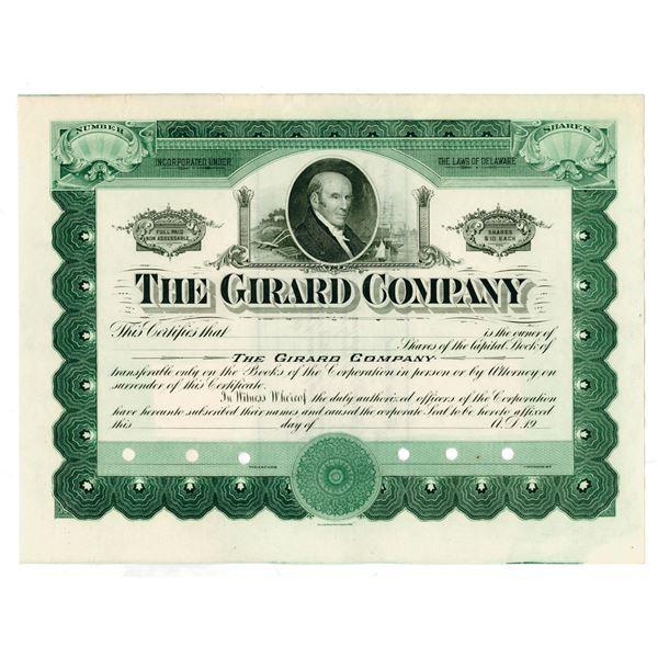 Girard Co., ca.1920-1930 Specimen Stock Certificate