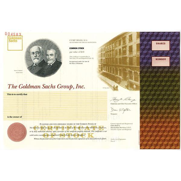 Goldman Sachs Group, Inc. 1999 IPO Specimen Stock Certificate