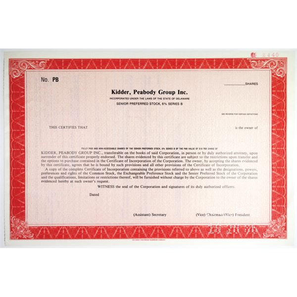 Kidder, Peabody Group Inc., 1986 Specimen Stock Certificate