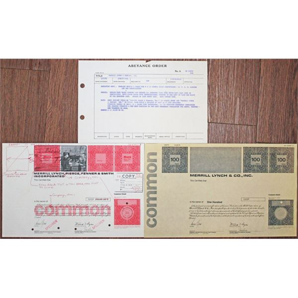 Merrill Lynch & Co., Inc. 1973 Production Department Approval Proof Mock-Up Stock Certificate, Photo