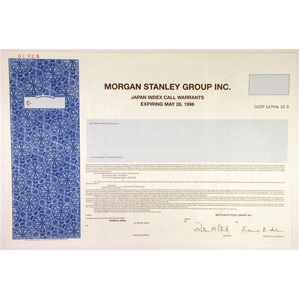 Morgan Stanley Group Inc. 1994 Specimen Warrant Certificate