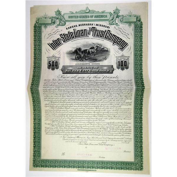 Inter-State Loan & Trust Co., 1880s $500 Specimen 6% Gold Coupon Bond, XF