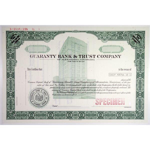 Guaranty Bank & Trust Co. 1971 Specimen Stock Certificate