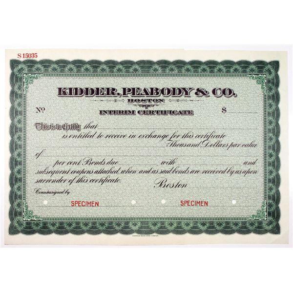 Kidder, Peabody & Co., ca.1900-20 Specimen Interim Certificate