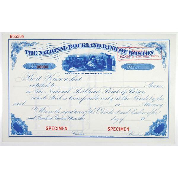 "National Rockland Bank of Boston 1900-20 ""Santa Claus"" Specimen Stock Certificate"