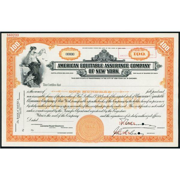 American Equitable Assurance Co., ca.1920-30's Specimen Stock Certificate.